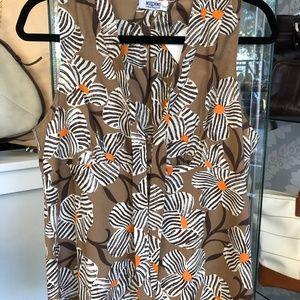 MOSCHINO Brown Floral Print Cotton Top & Skirt Set